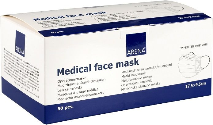 slide image Abena Mundschutz OP-Maske Typ 2R mit Gummiband 3-lagig 50 Stk. blau